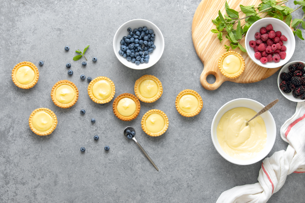 Tartlets,With,Custard,And,Summer,Berries,,View,From,Above