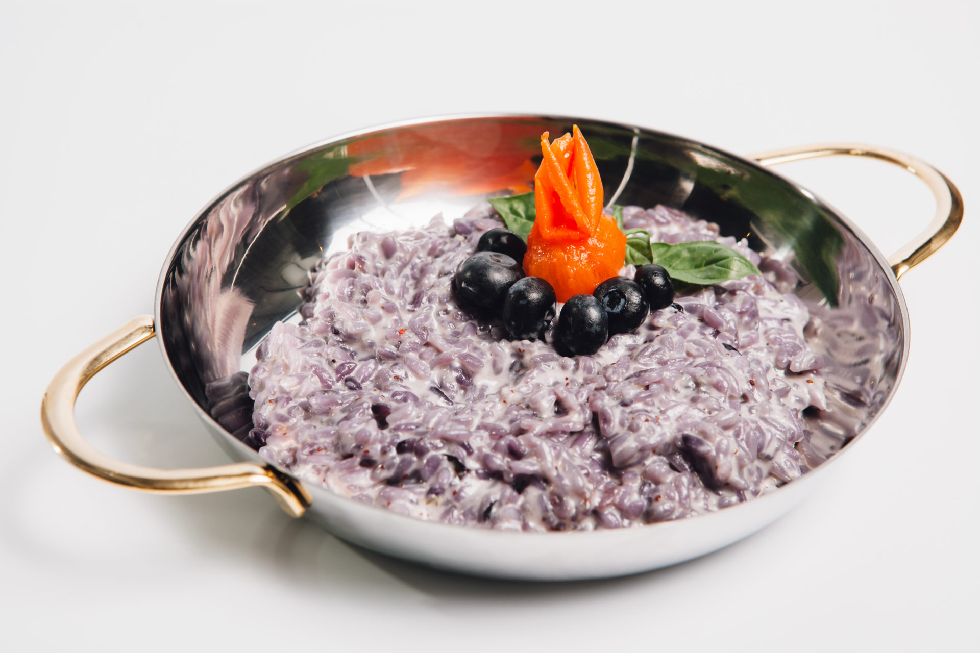 Metal,Bowl,With,Rice,And,Blueberry