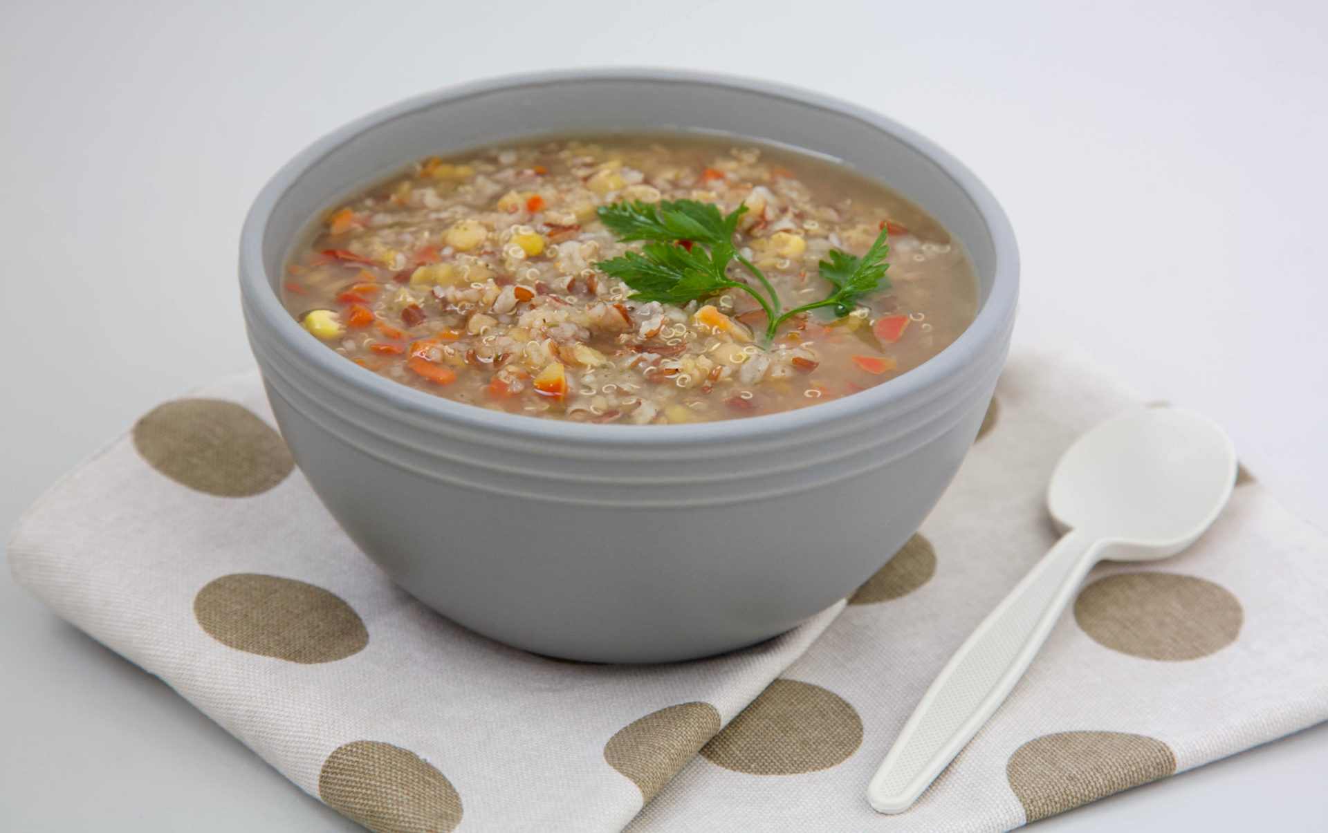 Peruvian,Quinoa,Soup,With,Red,Rice,And,Lentils,In,A