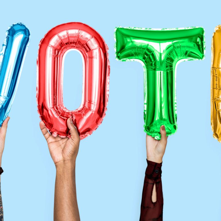 Colorful,Alphabet,Balloons,Forming,The,Word,Vote